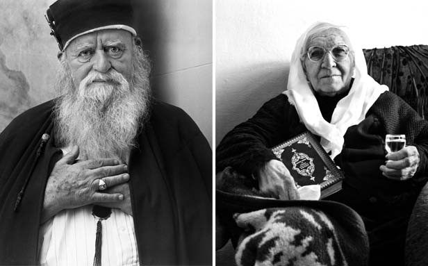 The worldwide leader of the Bektashi (left), a Muslim movement that sees God everywhere, in everyone. During the Nazi occupation of Albania, the Bektashi sheltered the Jews. Portraits in the exhibit show family members with mementos of the time their fami - PHOTOS BY NORMAN GERSHMAN, COURTESY THE EYE CONTACT FOUNDATION