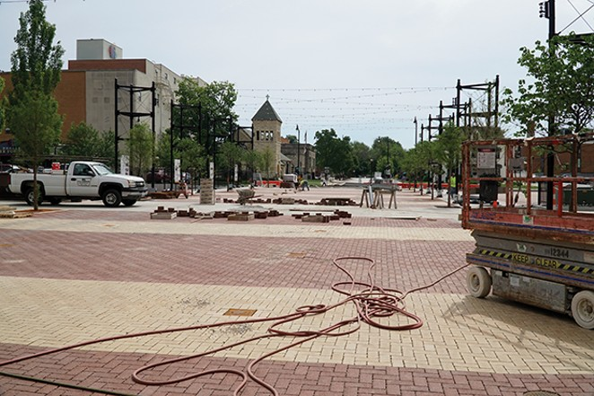 View from the Y Block of Bicentennial Plaza in progress. - PHOTOS BY LEE MILNER