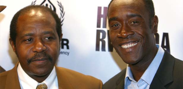 Paul Rusesabagina, left, and Don Cheadle attend a premieere of Hotel Rwanda on Sunday, November 14, 2004, in New York City. - TIM GRANT/MCT