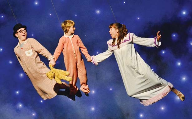 The Darlings (Jakob Hankins, Brayden Brinkman and Lindsey Leach) learn to fly. - PHOTO BY DONNA LOUNSBERRY