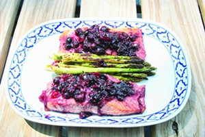King salmon with blueberry sauce. - PHOTO BY PETER GLATZ