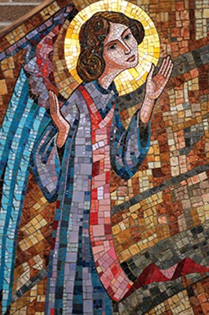 Detail from the Rosary mosaic in the chapel's sanctuary. Mosaics were designed by Deprato Studios, Chicago, and executed in Pietrasanta on the northern coast of Tuscany. They were shipped in numbered sections and assembled on-site by Deprato crafts - PHOTO COURTESY SACRED HEART CONVENT
