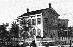 A wood engraving of the Lincoln Home, 1865.