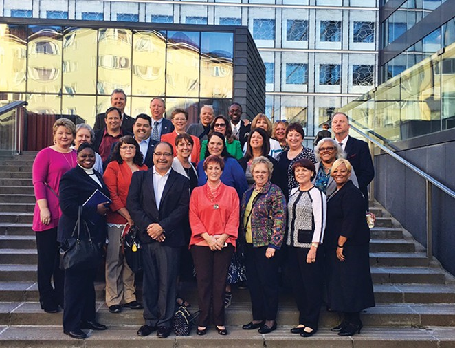 Cinda Klickna, third from right, front row, was part of a delegation comprising presidents of state affiliates of the National Education Association.