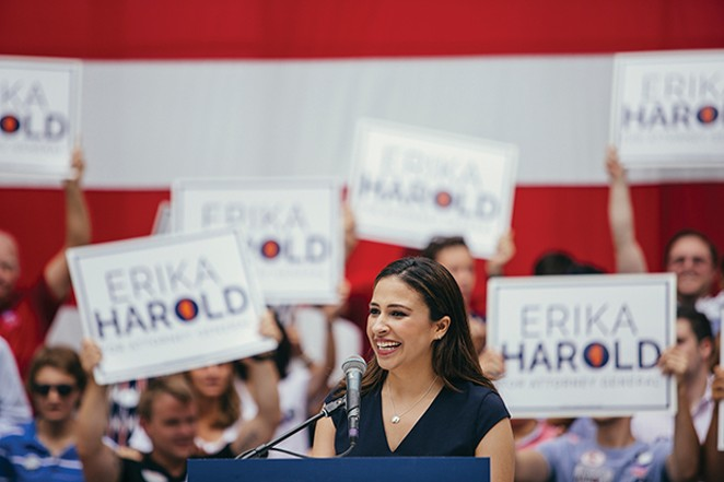 Erika Harold speaks on Governor's Day at the state fair in August. - PHOTO COURTESY CITIZENS FOR ERIKA HAROLD