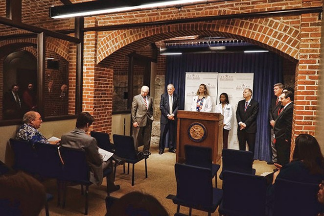 These days a Statehouse press conference often has more presenters than reporters there to cover it. - PHOTO BY LEE MILNER