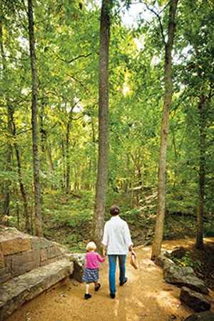 Crystal Bridges is surrounded by miles of wooded trails.