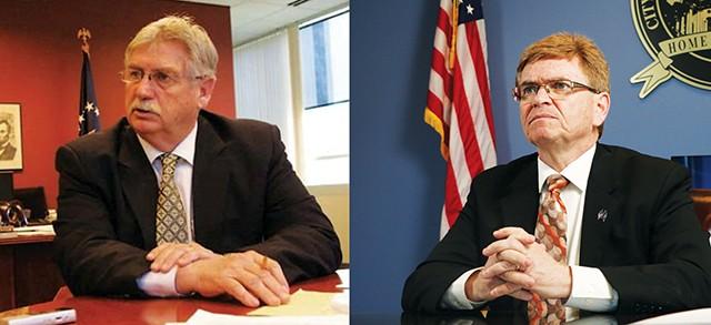 Former alderman Frank Edwards, left, will face Mayor Jim Langfelder in the April mayoral election.