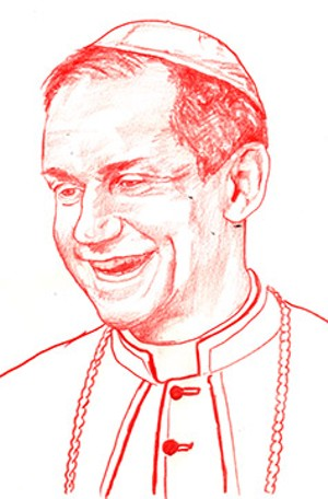 Images of Bishop Thomas John Paprocki for this article are by Jonah Harjer, a Springfield artist who was born in Chicago and grew up in the 1980s  in Miami, where he was influenced by the local skate and street culture. He was drawn to  painting graffiti, - ILLUSTRATIONS BY JONAH HARJER
