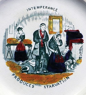 """An artifact from the early phase of the temperance movement in America. On this c. 1840s plate, an illustration taken from George Cruikshank's """"The Bottle"""" shows a family with alcoholic parents whose infant has died of starvation and wh - PHOTO COURTESY OF DANNYL DOLDER, ILLINOIS STATE MUSEUM."""