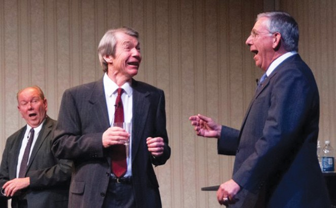 Rich McCoy, left, as Gerald Ford, Chuck McCue as Ronald Reagan and Tom Lawton as George H.W. Bush in Five Presidents. - PHOTO BY CHRIS WILLS.