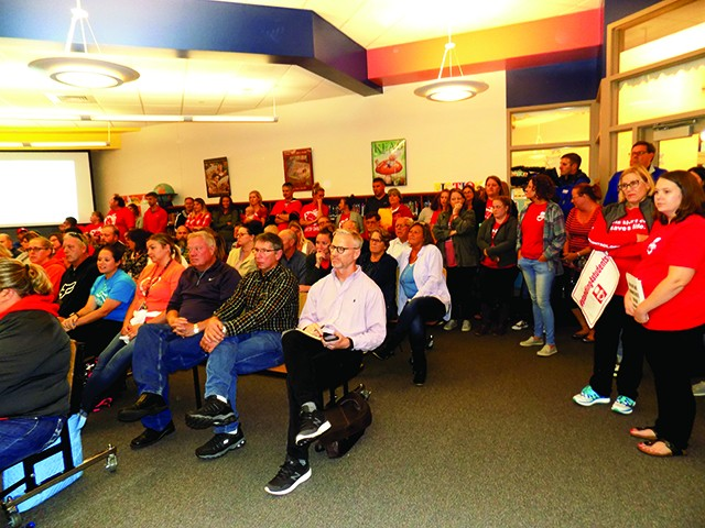 Supporters and detractors of superintendent Adam Ehrman pack last week's meeting. - PHOTO BY BRUCE RUSHTON
