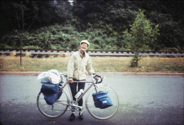 Carol Rushton en route to Alaska, circa 1985.