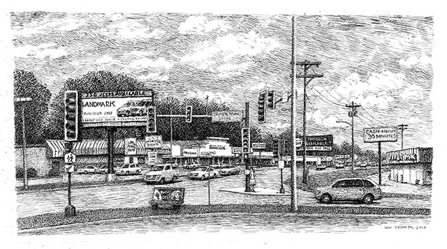 The intersection of MacArthur Boulevard and Outer Park Drive, as captured by William Crook, a longtime resident of the MacArthur area who is known for his pen-and-ink drawings of Springfield scenes. - ARTWORK BY WILLIAM CROOK