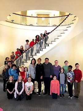 "Last January Elizabeth Marcy's fourth- and fifth-grade art club from DuBois school took a trip to the Governor's Mansion to view an exhibit called ""Art of Illinois."" The students were surprised with a visit from Gov. JB Pritzker - PHOTO COURTESY DISTRICT 186 PUBLIC SCHOOLS"