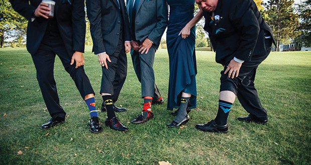 Members of Tom Campbell and Jackie Beauchamp's wedding party incorporated superheroes into their attire. - PHOTO BY ELOUISE PHOTOGRAPHIE