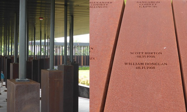 Left: More than 800 hanging steel monuments are part of the National Memorial for Peace and Justice in Montgomery, Alabama. Each monument lists the name of lynching victims from counties throughout the United States. Right: Sangamon County's two 1908 lync - PHOTOS BY BRENT BOHLEN