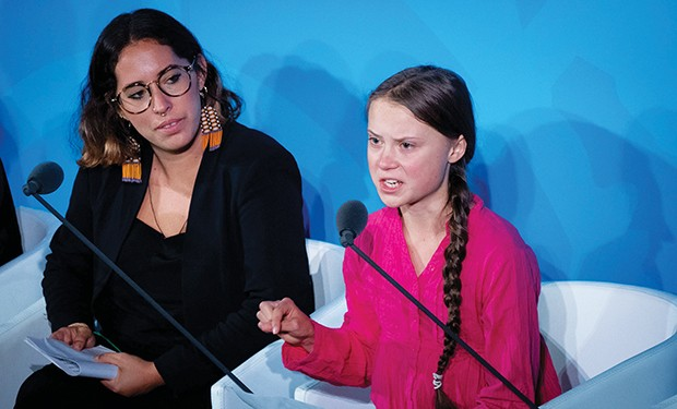 Climate activist Greta Thunberg, right, speaks at the United Nations Climate Change Conference on Sept. 23, 2019. - PHOTO BY KAY NIETFELD/DPA/ZUMA PRESS/TNS
