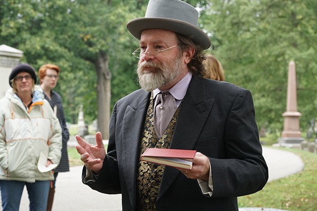 """Dennis Rendleman: """"I don't like to just memorize a script, but talk from what I remember and sometimes use a book that has notes as a prompt."""" Pictured here from the 2018 cemetery walk, Rendleman this year portrays Jesse Dubois, who die"""