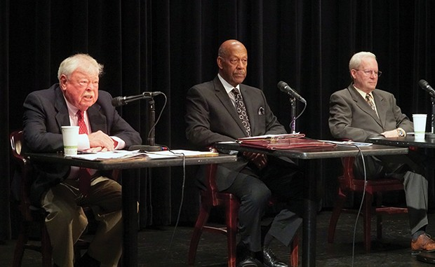 Jack Pfeiffer, left, Allan Woodson, center, and Thomas Kernins tell a Citizens Club audience that Springfield School District 186 needs to change its ways. - PHOTO BY LEE MILNER