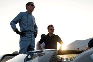 Ken Miles (Christian Bale) and Carroll Shelby (Matt Damon) in Ford V Ferrari.
