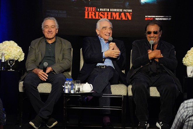 Robert De Niro, Martin Scorsese & Al Pacino at the press conference for the Netflix film The Irishman.