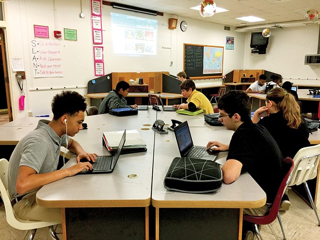 A Grant Middle School current events class. Future public school classes are to include the roles and contributions of all people protected under state law, including LGBT historical figures and events. - PHOTO COURTESY OF DISTRICT 186