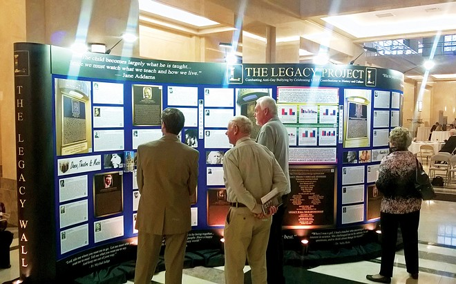 The Legacy Wall, which highlights the contributions of LGBT individuals to history and culture, was displayed at the Illinois State Library. - PHOTO COURTESY THE LEGACY PROJECT.