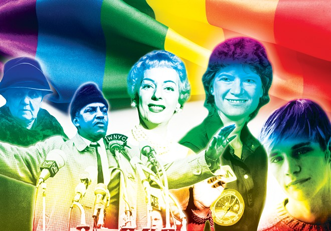 National figures who may soon be recognized in Illinois textbooks for their contributions to LGBT history include, from left, Jane Addams, Bayard Rustin, Christine Jorgensen, Sally Ride and Matthew Shepard.