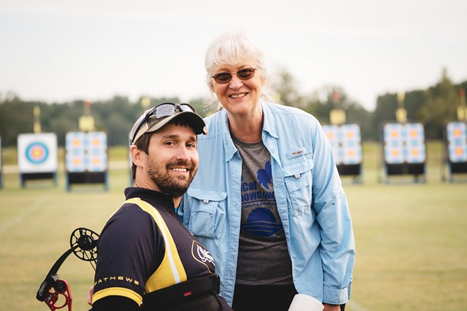 Ben with his mother, Karen Thompson of Buffalo, on Mother's Day at 2018 Gator Cup in Florida. - PHOTO COURTESY OF USA ARCHERY