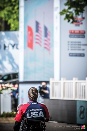 During the National Anthem at the medal ceremony. - PHOTO COURTESY OF USA ARCHERY
