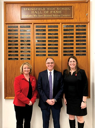 2020 SHS Hall of Fame recipient Michael Vasconcelles with Jennifer Gill, superintendent of District 186 (left), and Lisa Leardi, principal of Springfield High School.  The Hall of Fame award is presented annually to a graduate of SHS who has achieved national eminence and graduated more than 25 years ago. - PHOTO BY KAREN WITTER
