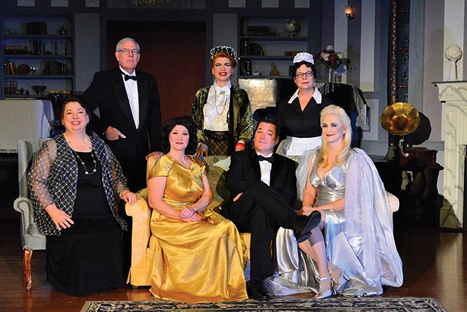 The cast of Blithe Spirit, directed by Ginny Brock Racette. - PHOTO COURTESY SPENCER THEATRE COMPANY