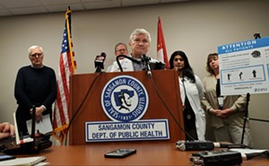 Dr. Brian Miller, chairman of the county health department addresses reporters at a press conference about the new guidelines - RACHEL OTWELL
