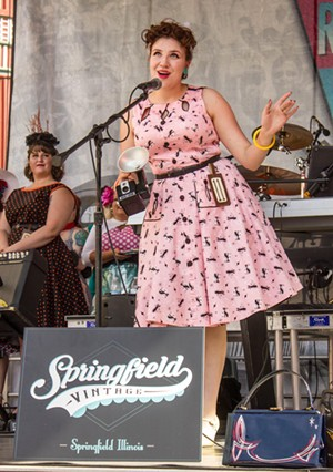 Model Lillian Wilkin, member of the Hott Totties local pinup club at the 2019 Miss MotherRoad Contest. - PHOTO BY CAROL GILLESPIE FORESTIER