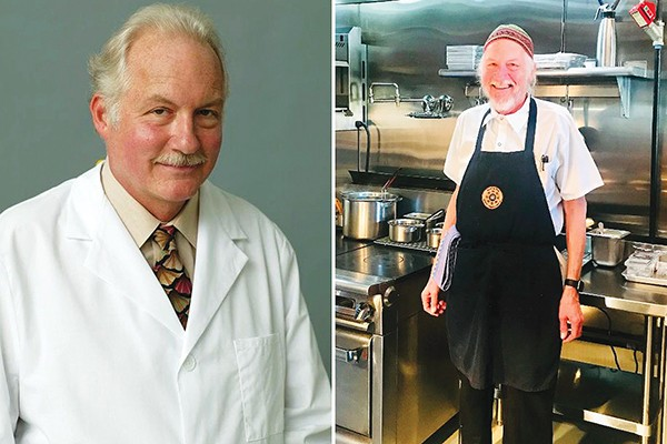 Left: Peter Glatz, shown here in 1995, was a dentist for - 43 years. - Right: Peter Glatz on his first day on the - job at Oklahoma City's Nonesuch restaurant last year. - PHOTO BY MICHAEL ROBERTS AND ANN SHAFFER GLATZ