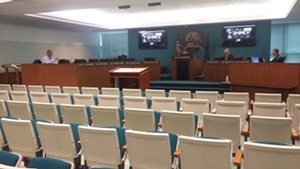 Council chambers were nearly empty Tuesday as most aldermen attended electronically. - PHOTO BY BRUCE RUSHTON