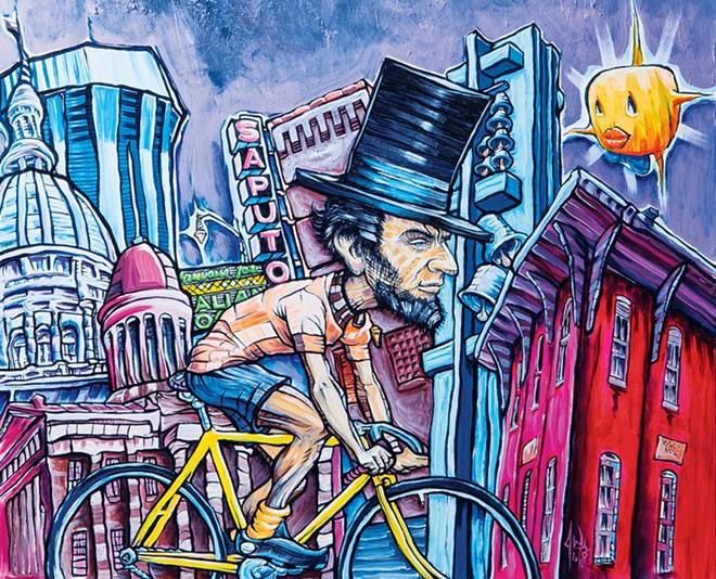 """""""Velolincolnlandia,"""" by Springfield artist Jeff Williams, graced the cover of the Illinois Times 2015 Capital City Visitor."""