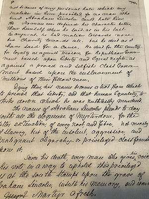 An excerpt from Douglass' handwritten Lincoln lecture. - ILLINOIS STATE HISTORICAL SOCIETY
