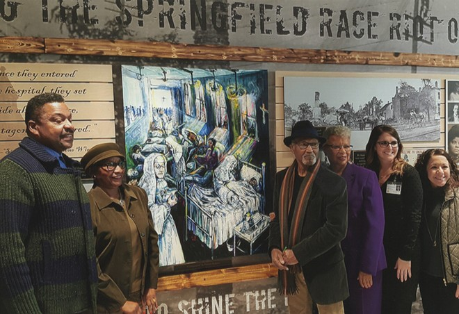 rtist Preston Jackson's depiction of care being given at St. John's - Hospital to victims of the 1908 Springfield race riot, a project of the African American History Museum and HSHS St. John's Hospital. From left to right are Ken Page, Patricia Harris, Preston Jackson, Nell Clay, Catie Sheehan and Erica Johnson. - PHOTO COURTESY NELL CLAY