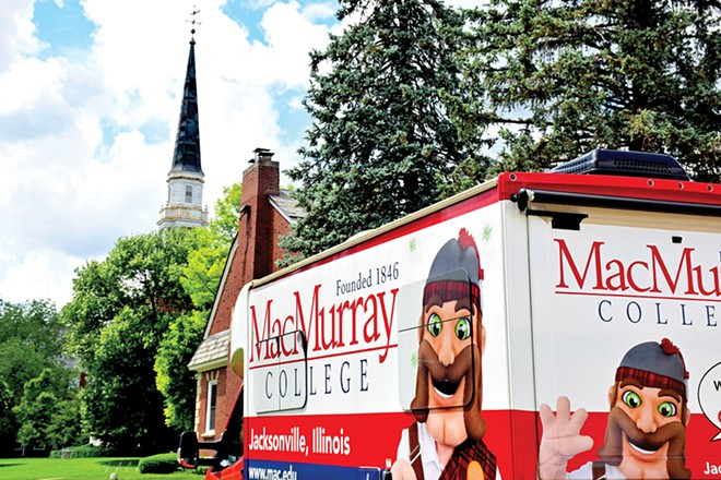 The promotional RV that had been used to try and drum up support and enrollment across the country now sits idle on the MacMurray College campus. - PHOTO BY DAVID BLANCHETTE
