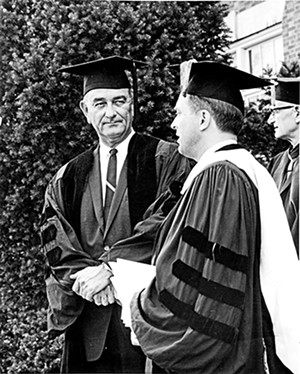Vice President Lyndon Johnson and - MacMurray President Gordon Michaelson on June 2, 1963, when Johnson received an honorary degree. - PHOTO COURTESY MAC MURRAY COLLEGE.