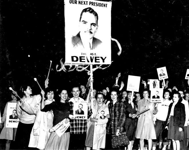 MacMurray College women holding Dewey for President signs in 1945. - PHOTOS COURTESY MACMURRAY COLLEGE.