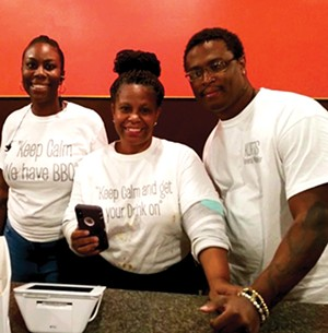Di'Anna Mitchell, left, Renatta Frazier and Kurtis Mitchell of Great House Barbecue.