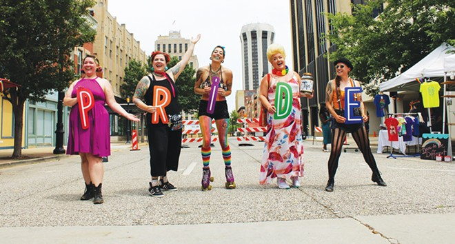 Members of the 217 Burlesque troupe performed at a LGBTQ pride brunch in June. - CREDIT: FACEBOOK.COM/DRMRDREAMER