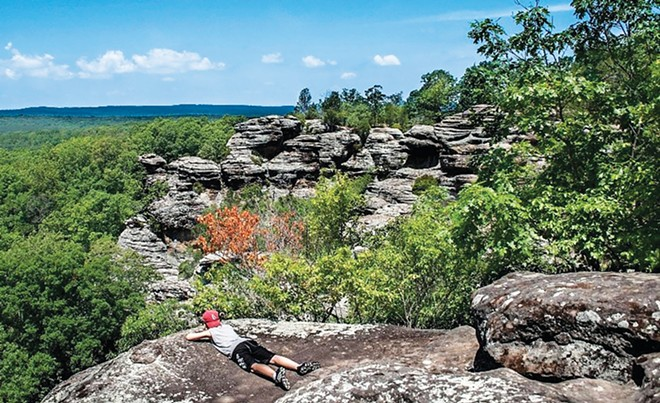 The Garden of the Gods Recreation Area near Harrisburg is a scenic highlight in southern Illinois. The spot is one of the most photographed in the state. - PHOTO COURTESY OF THE SOUTHERNMOST ILLINOIS TOURISM BUREAU.