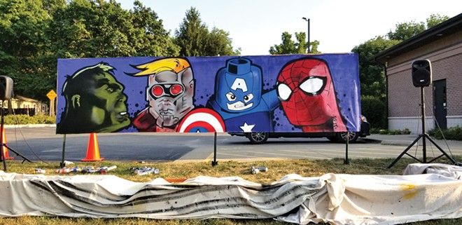 Marvel character mural spray painted as a live exposition in front of the Athens Municipal Library for a back-to-school event hosted by the library and #REKSERVICES on Aug. 24, 2020. Features Incredible Hulk, Star Lord, Lego Captain America, Spiderman.