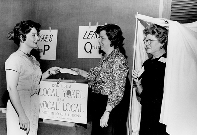 The League of Women Voters has encouraged voter participation since founding after the passage of the 19th Amendment. This photo is from 1960. - PHOTO COURTESY SANGAMON VALLEY COLLECTION