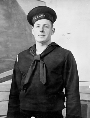 Sathoff enlisted in the Navy in 1944, age 17.