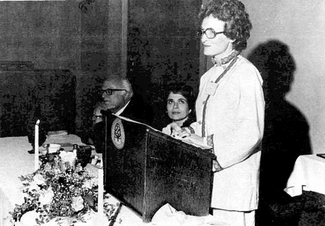 LuAnn Atkins addressed the crowd at an SSU honor dinner. This photo first appeared in the fall, 1975 edition of the university's magazine. The magazine also had an article in it by Atkins where she wrote about how her experience taking a human sexuality course put her on a path to leading the local Planned Parenthood. - PHOTO COURTESY UIS ARCHIVES